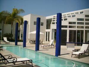 Cobalt blue columns by pool