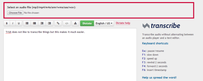 User interface for Transcribe by Wreally