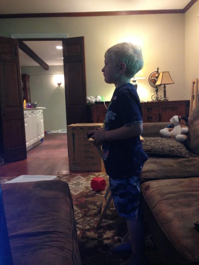 Benjamin playing video game