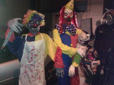 Dangerous clowns at Western House of Horror