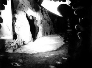 Conrad Veidt surrounded by Expressionistic settings in The Cabinet of Dr. Caligari