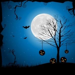 halloween full moon bats pumpkins tree