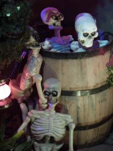 Boney Island skeletons and barrel