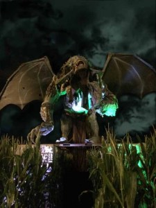A winged demon guards the entrance of Creatures of the Corn at Fright Fair.