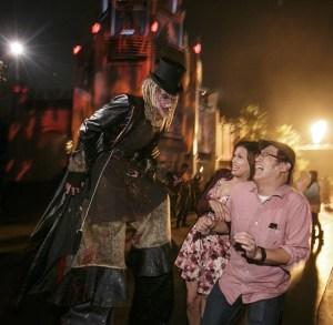 A monster on the New York city street scene of Halloween Horror Nights 2015. Photo by David Sprague