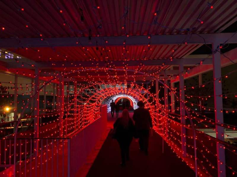 Queen Mary Christmas tunnel of lights
