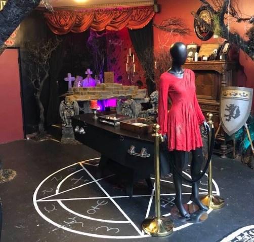 Altar, coffin & female mannequin