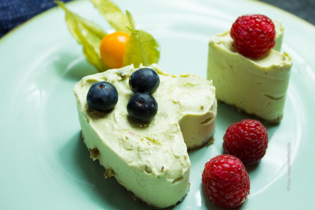 Hier das Rezept für den glutenfreien, veganen Limetten Cheesecake