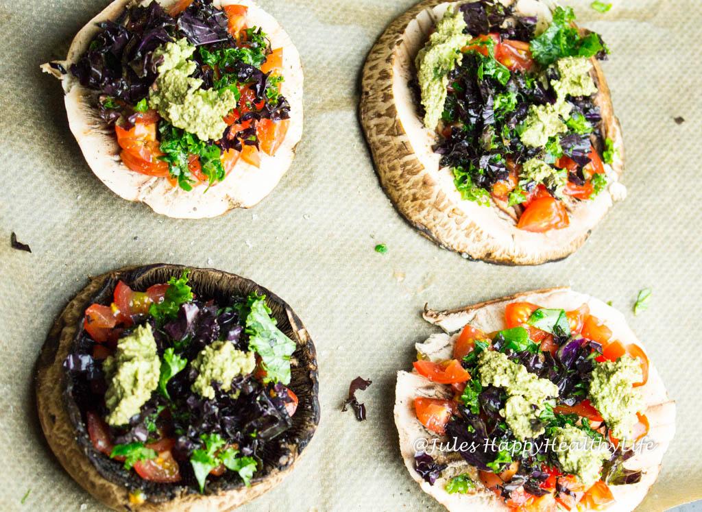 Grünkohl auf Portobello Pilzen - Jules HappyHealthyLife glutenfreier Food Blog