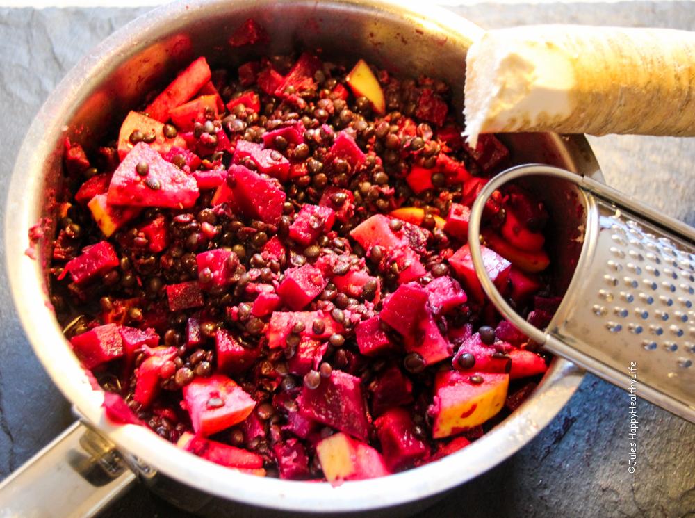 Rezept für herbstlichen Rote Bete Salat mit frischem Meerrettich