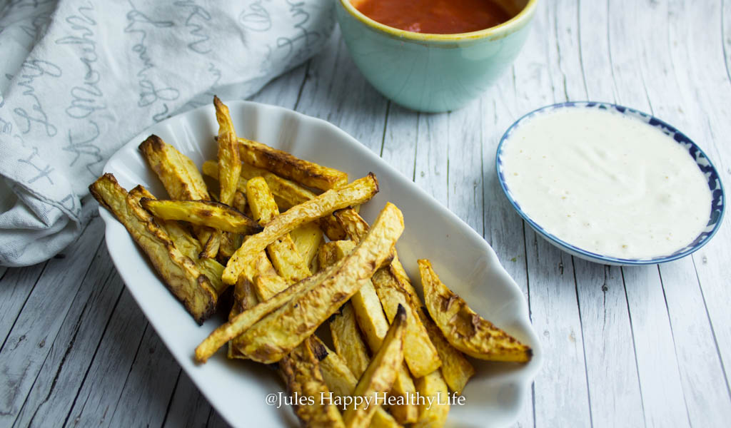 Steckrüben Pommes mit veganem Aioli - Jules HappyHealthyLife glutenfreier Food Blog