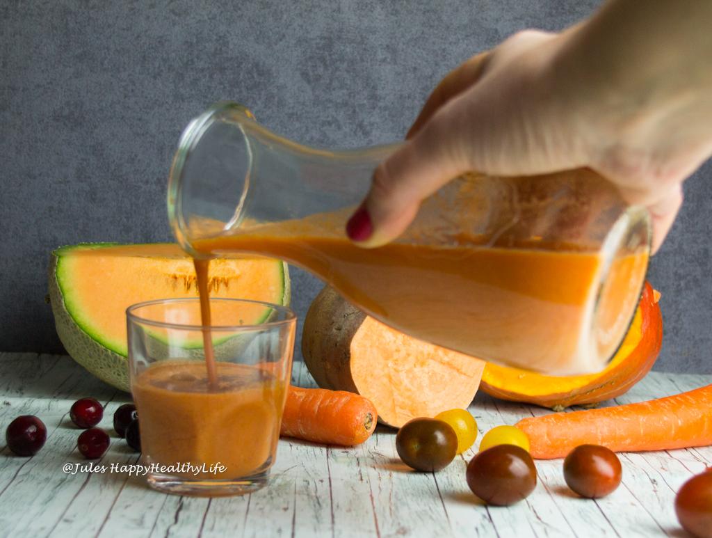 Leckerer Kürbis Süßkartoffel Detox Saft glutenfrei, vegan