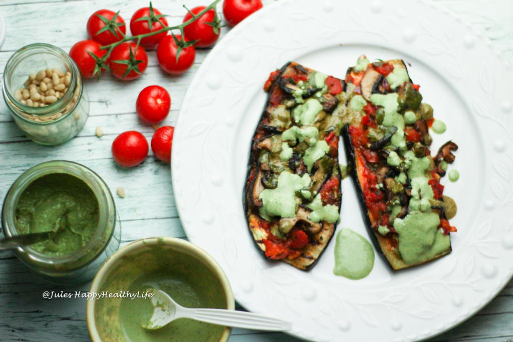 Auberginen Pizza glutenfrei, vegan und kohlenhydratarm