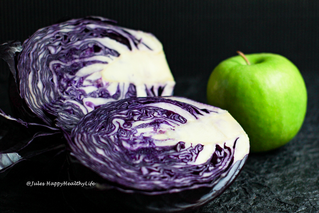 Fresh red cabbage and Granny Smith Apple