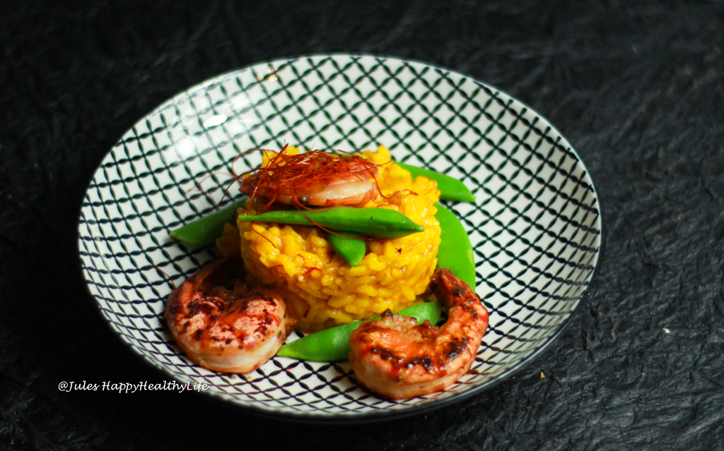 Gluten free recipe for Saffron Risotto with Miso glazed Tiger Prawns and sugar peas