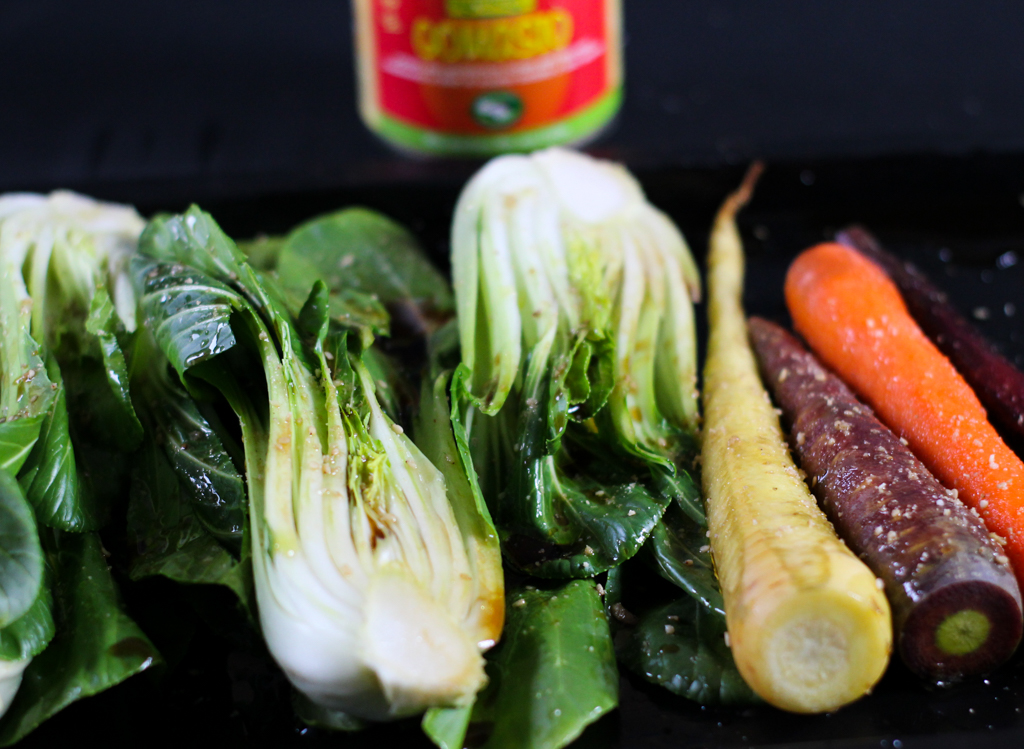 Ingredients for Glazed Salmon with oven roasted Pak Choy & Carrots and Carrot Ginger Gel