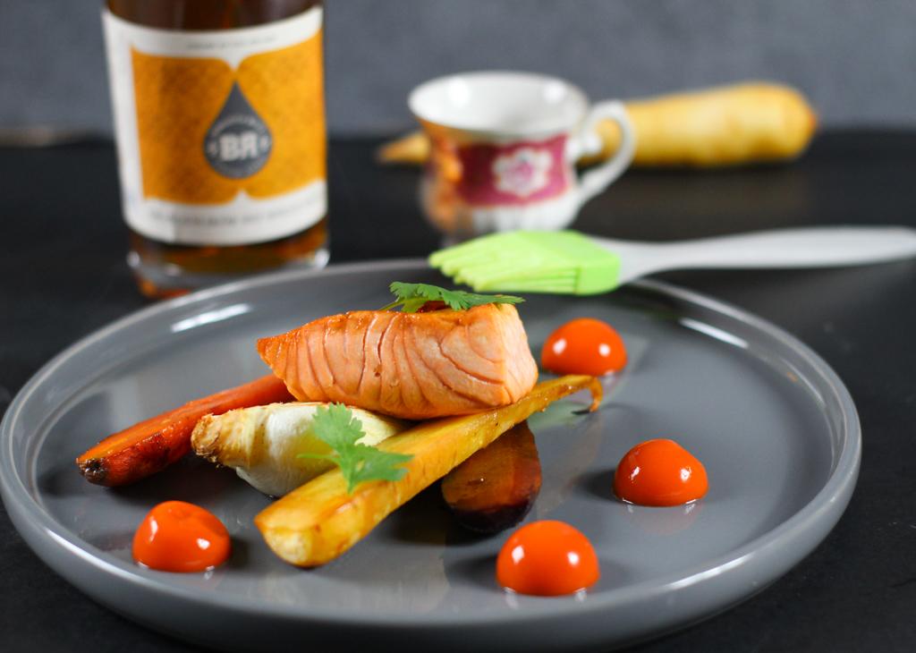 Salmon glazed with Orange Liqueur with Single Malt from Piekfeine Brände