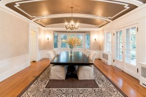 a balanced composition of a dining room table