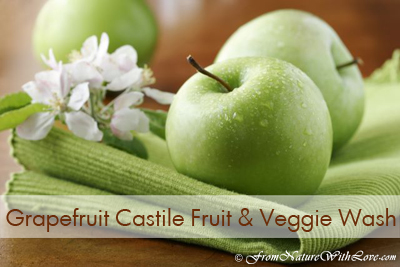 How to Make Grapefruit Castile Fruit & Veggie Wash Recipe | www.NaturalBeautyWorkshop.com