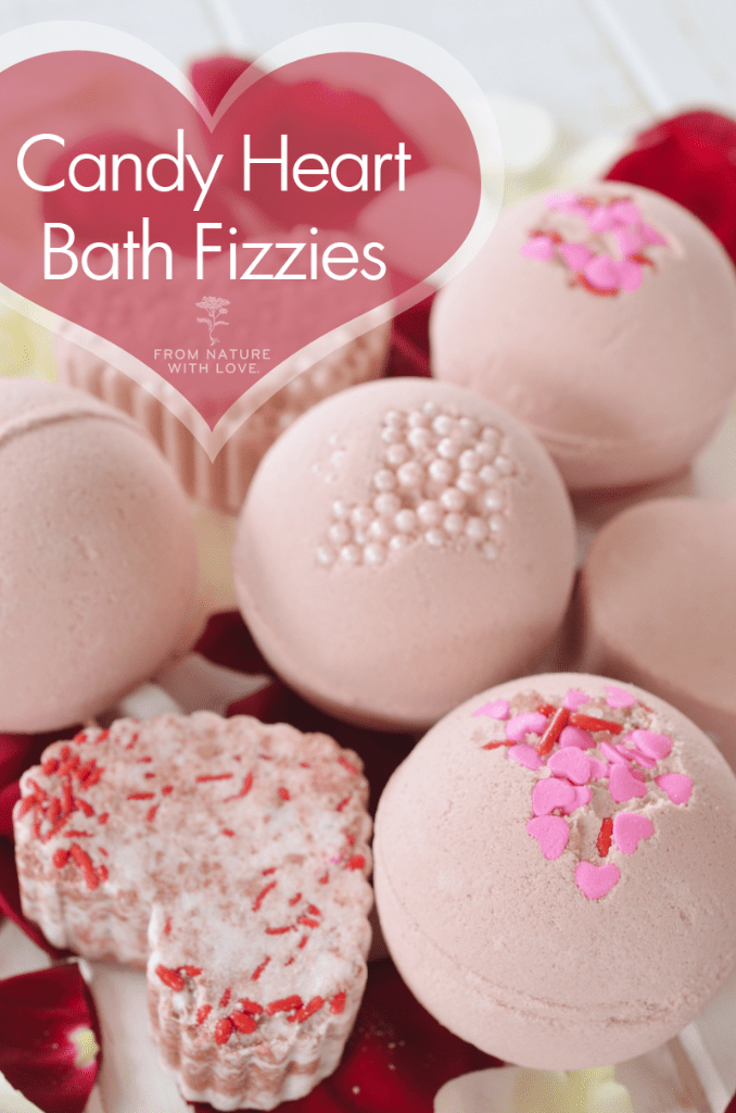 Make Your Own Candy Heart Bath Fizzies for Valentine's Day Using this Simple Recipe from The Natural Beauty Workshop!