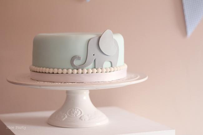 Nice Party primer cumpleaños elefante azul tarta