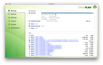 CrashPlan, backing up from iMac to Synology NAS