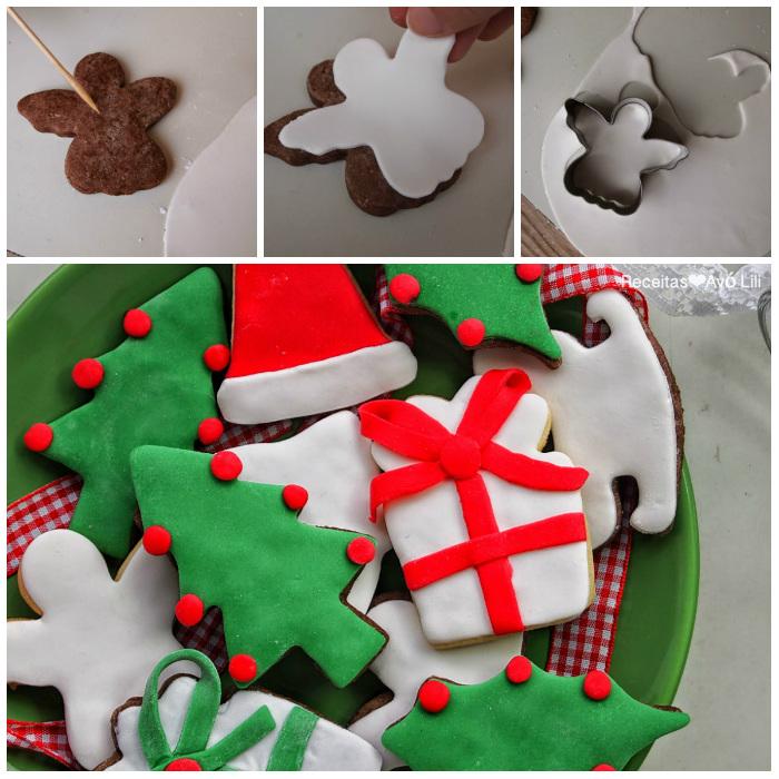 Bolachas de Natal Decoradas com Massa de Açúcar