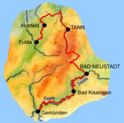 Reiseroute Rhön