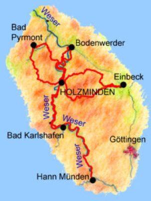 Reiseroute Weserbergland