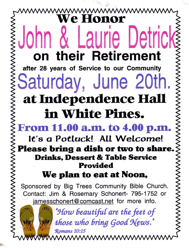 Help The Detrick's Celebrate Their Retirement!