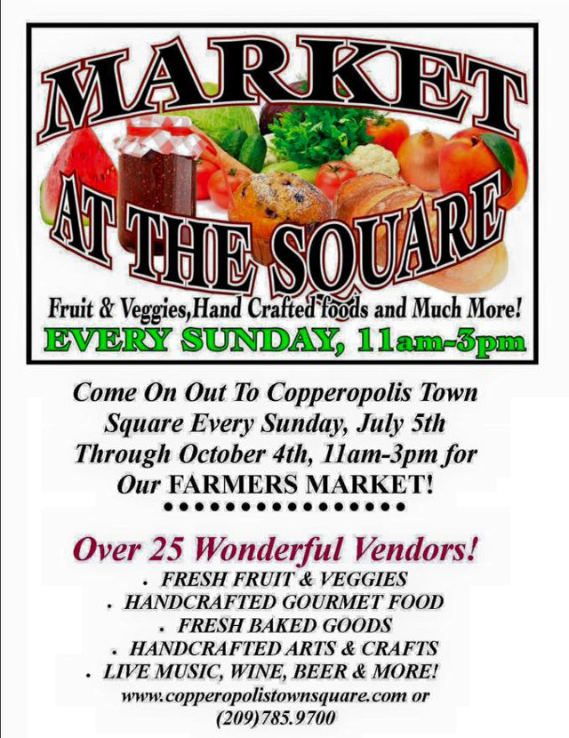 Copperopolis Town Square to Host Weekly Farmer's Market Beginning Sunday, July 5