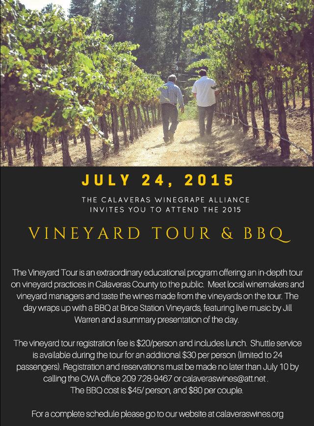 2015 Vineyard Tour & BBQ  Friday, July 24, 2015 With Tour Specialist, Lynn Wunderlich  UCCE Calaveras County Farm Advisor