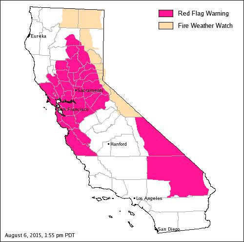CalFire Red Flag Warning Extended