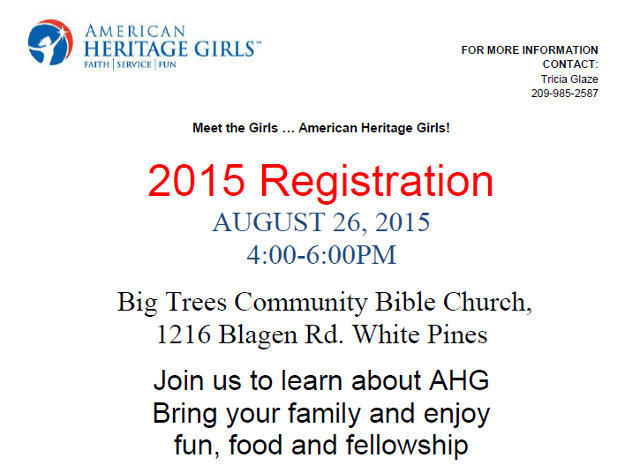 Meet the Girls … American Heritage Girls! 2015 Registration AUGUST 26, 2015 4:00-6:00PM