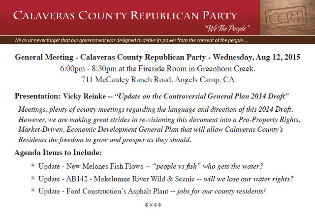 Calaveras County Republicans To Meet August 12th