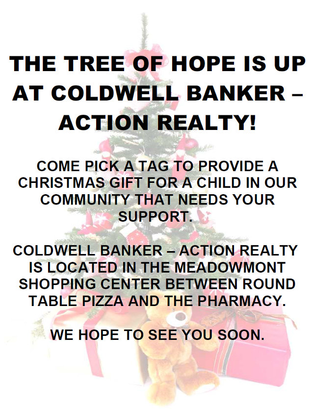 The Tree Of Hope Is Up At Action Realty!  Help A Local Child Today