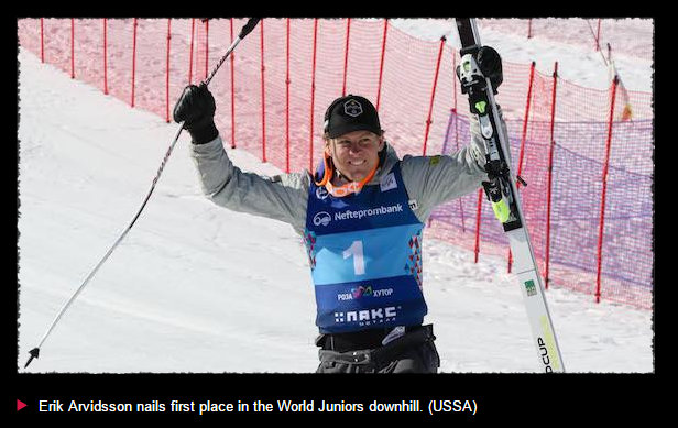 Bear Valley Alum Erik Arvidsson Wins World Juniors Downhill! ~ By Courtney Harkins