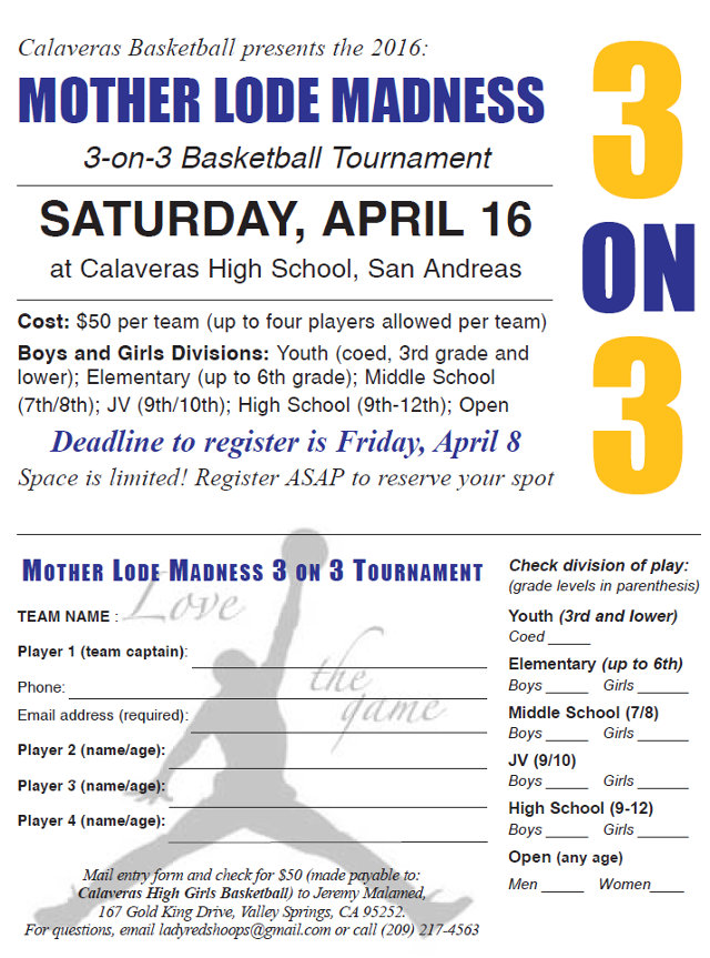 Mother Lode Madness 3 on 3 Tournament!  Be a part of the Madness!