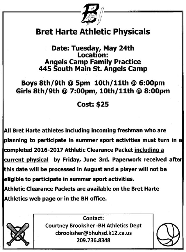 Bret Harte Physicals Are May 24th