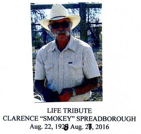"""Clarence """"Smokey"""" Spreadborough  Aug. 22, 1928 – Aug. 27, 2016"""