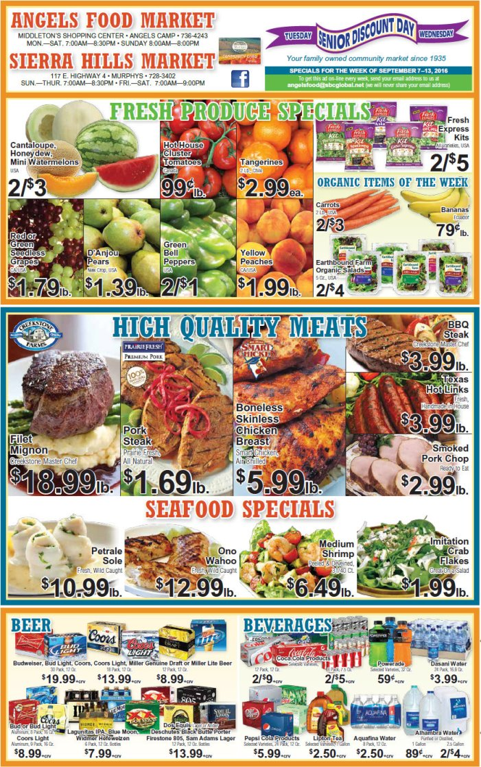 Angels Food & Sierra Hills Markets Weekly Ad Through September 13th Ask our Meat Department about our  'Special Meat Packs'