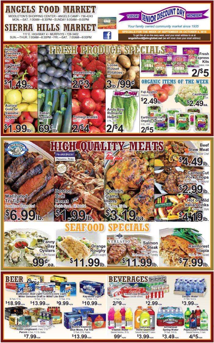 Angels Food & Sierra Hills Markets Weekly Ad Through October 4th!  Ask our Meat Department about our  'Special Meat Packs'