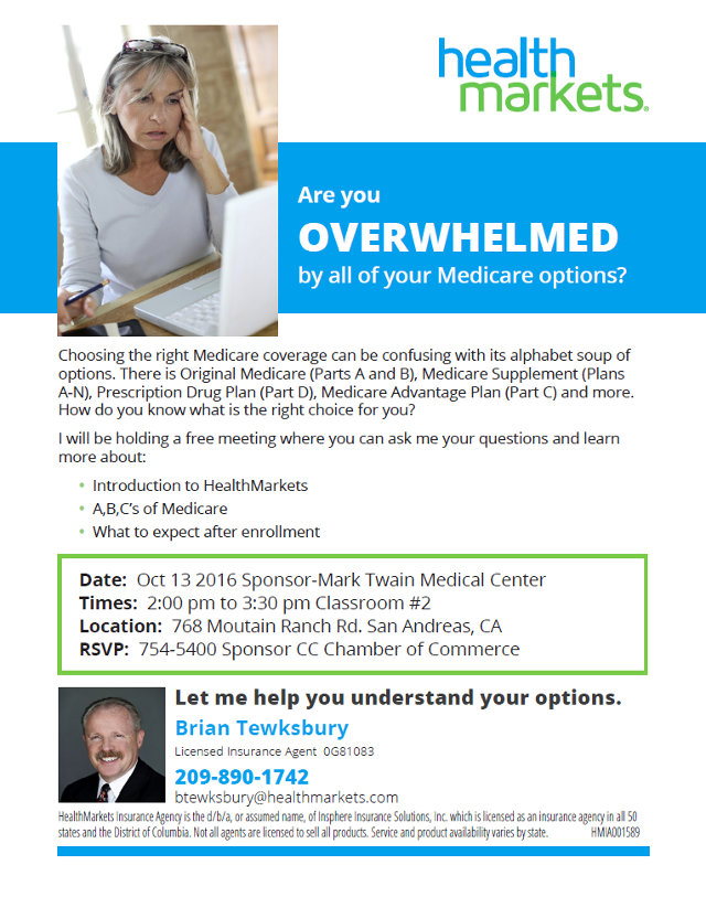 Overwhelmed By Your Medicare Options?  Help Is On The Way October 13th