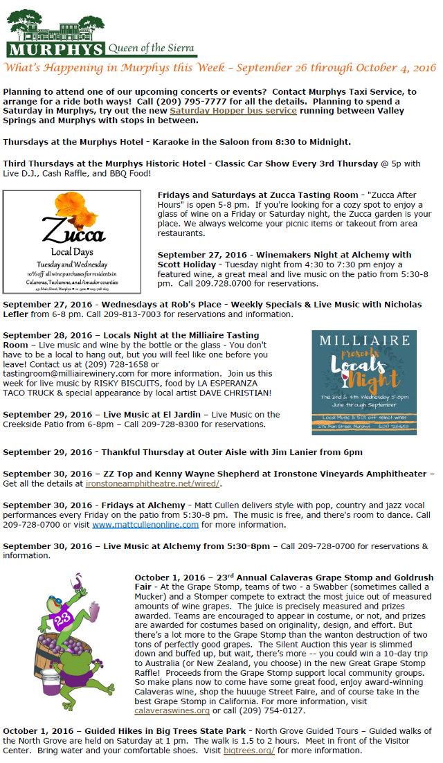 What's Happening in Murphys this Week – September 26 through October 4, 2016