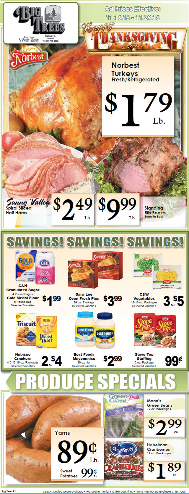 Big Trees Market Weekly Ad & Specials Through November 29th!  Shop Local For Your Thanksgiving Feast!!