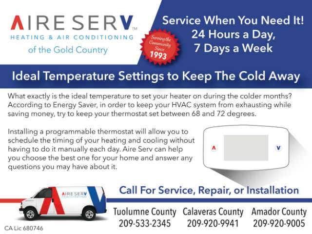 Stay Warm This Winter With Aire Serv Of The Gold Country