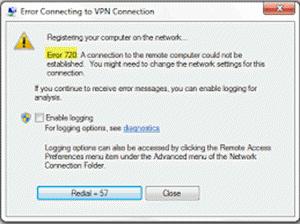 VPN Error 720 – Error connecting to a VPN Connection