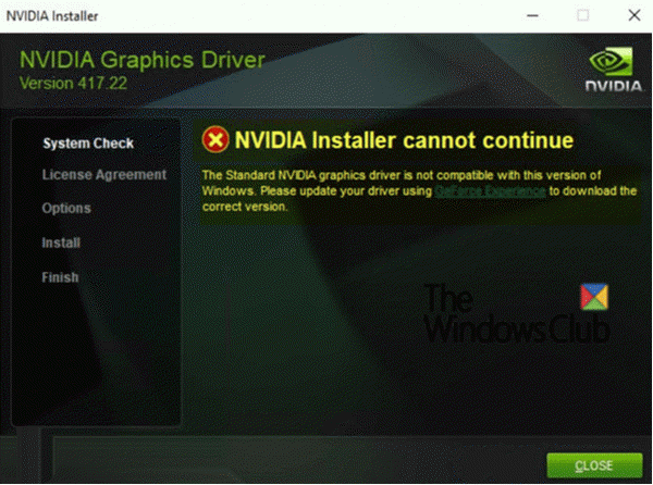 NVIDIA Installer cannot continue on Windows 10