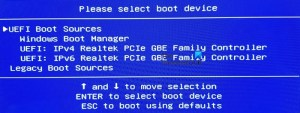 Please select boot device – UEFI Boot Sources