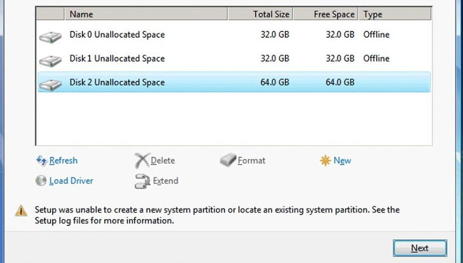 setup was unable to create a new system partition error